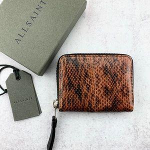 ALLSAINTS Kanda Snake Genuine leather Mini Wallet